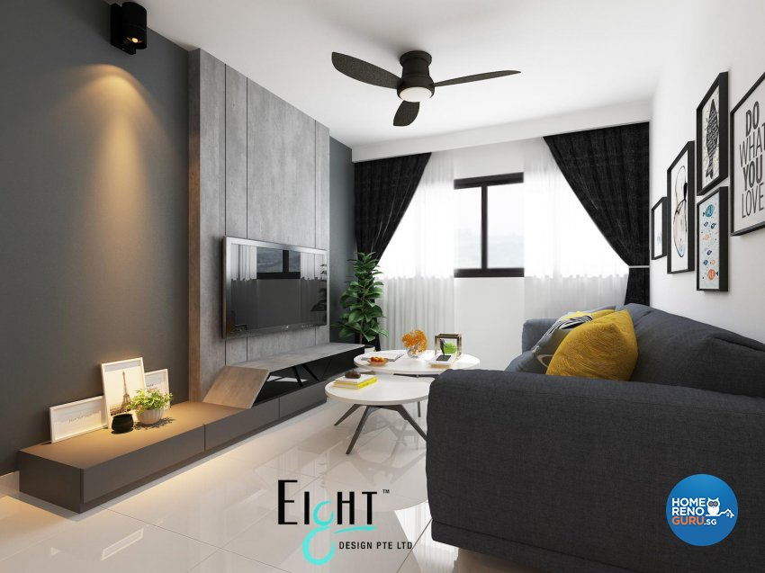 Contemporary, Minimalist, Modern Design - Living Room - HDB 3 Room - Design by Eight Design Pte Ltd