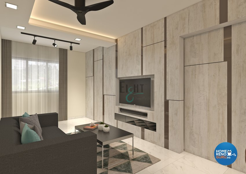 Modern Design - Living Room - HDB 4 Room - Design by Eight Design Pte Ltd