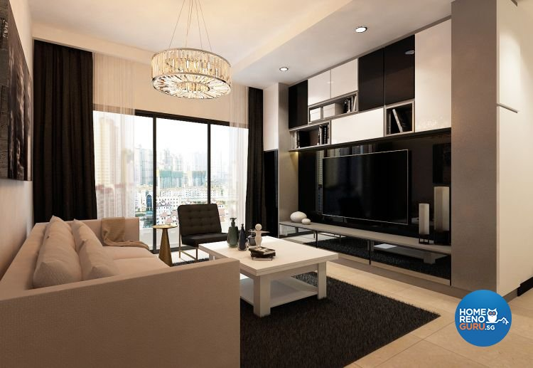 Contemporary, Modern Design - Living Room - HDB 4 Room - Design by Eight Design Pte Ltd