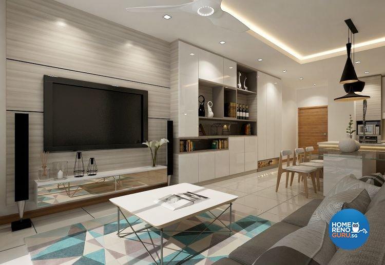 Contemporary, Modern Design - Living Room - HDB 4 Room - Design by Eight Design Pte Ltd