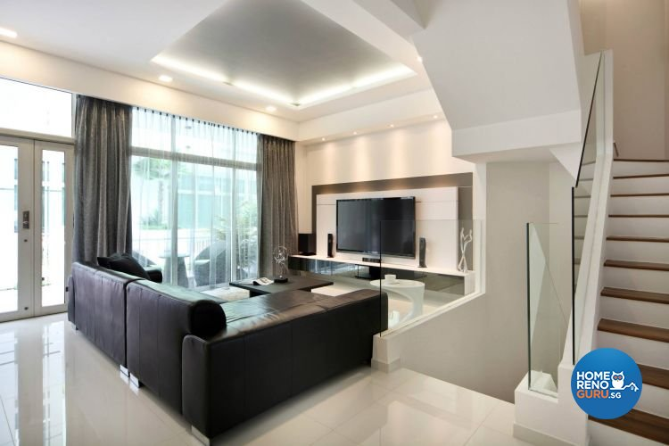 Contemporary, Minimalist Design - Living Room - Landed House - Design by Euphoric Designs