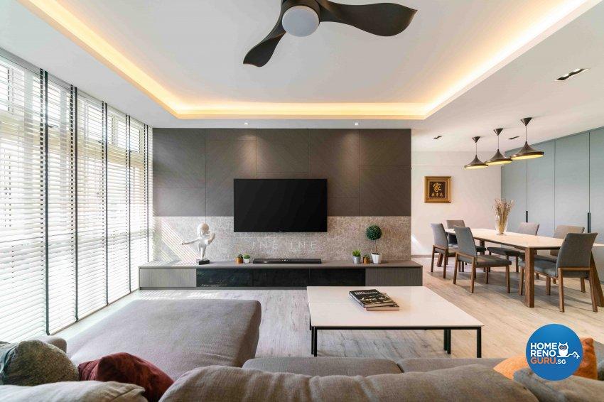 Contemporary Design - Living Room - HDB 5 Room - Design by Fineline Design Pte Ltd