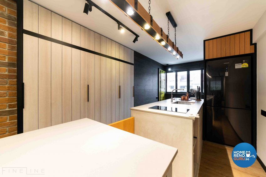 Industrial Design - Kitchen - HDB 3 Room - Design by Fineline Design Pte Ltd