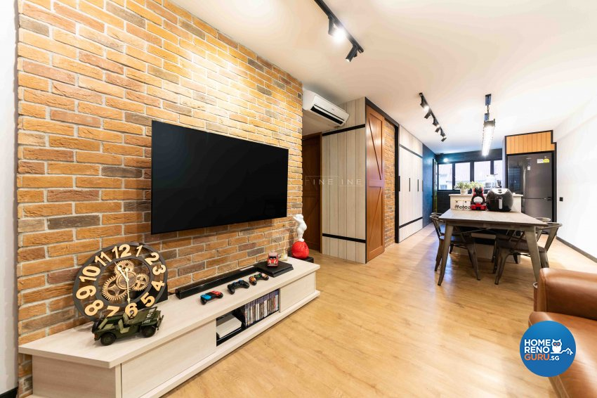 Industrial Design - Living Room - HDB 3 Room - Design by Fineline Design Pte Ltd