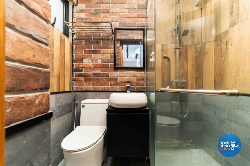 Industrial Design - Bathroom - HDB 3 Room - Design by Fineline Design Pte Ltd