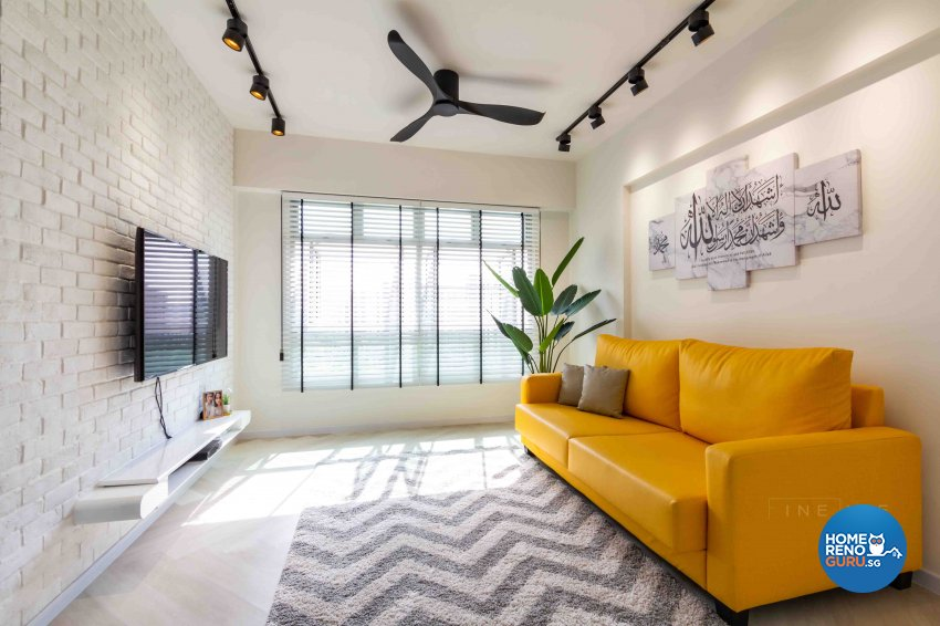 Contemporary, Industrial Design - Living Room - HDB 4 Room - Design by Fineline Design Pte Ltd