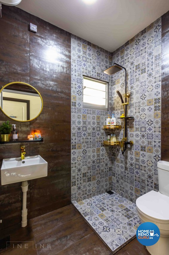 Contemporary, Industrial Design - Bathroom - HDB 4 Room - Design by Fineline Design Pte Ltd