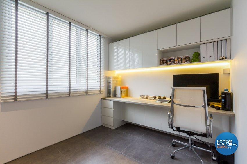 Contemporary, Modern, Rustic Design - Study Room - HDB 4 Room - Design by Fineline Design Pte Ltd