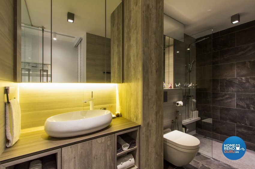 Contemporary, Modern, Rustic Design - Bathroom - HDB 4 Room - Design by Fineline Design Pte Ltd