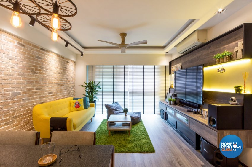 Contemporary, Modern Design - Living Room - HDB 4 Room - Design by Fineline Design Pte Ltd