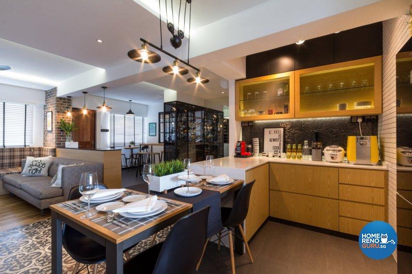 Contemporary, Modern Design - Kitchen - HDB 4 Room - Design by Fineline Design Pte Ltd