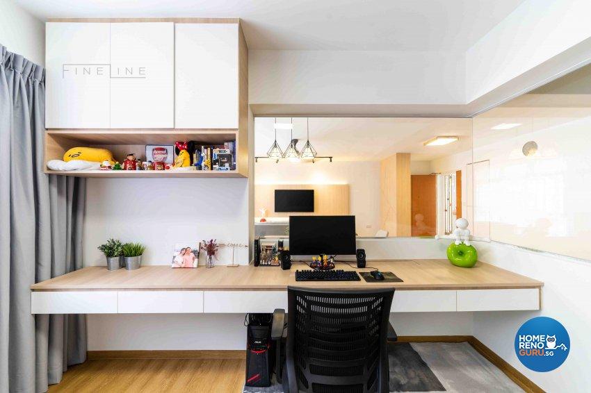 Scandinavian Design - Study Room - HDB 5 Room - Design by Fineline Design Pte Ltd