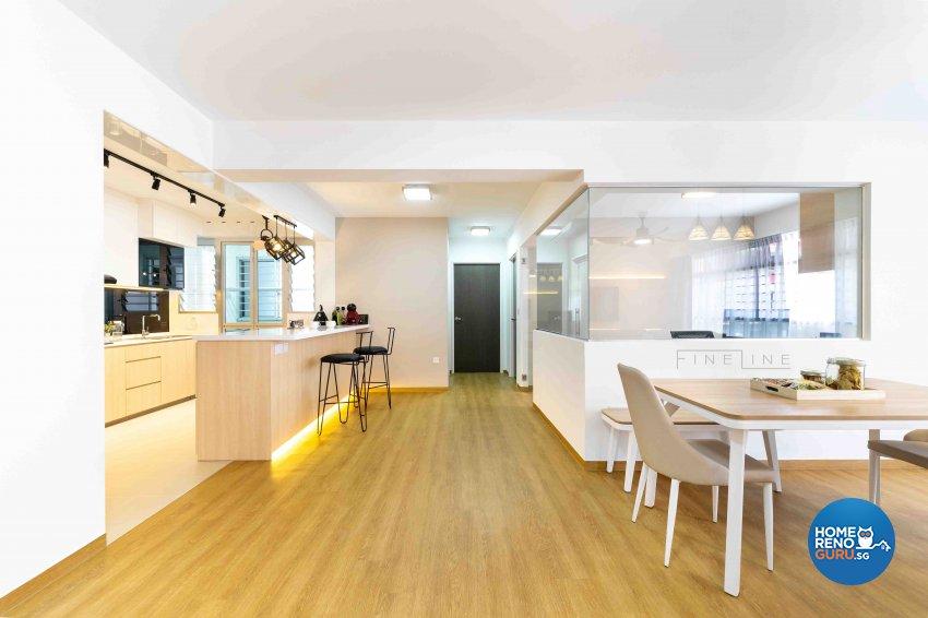 Scandinavian Design - Dining Room - HDB 5 Room - Design by Fineline Design Pte Ltd