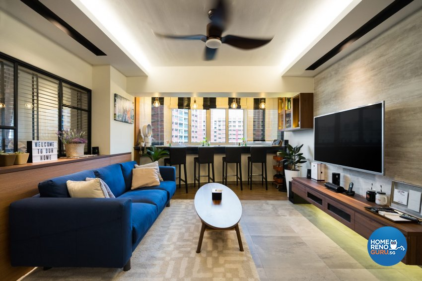 Contemporary Design - Living Room - HDB 5 Room - Design by Fineline Design Pte Ltd