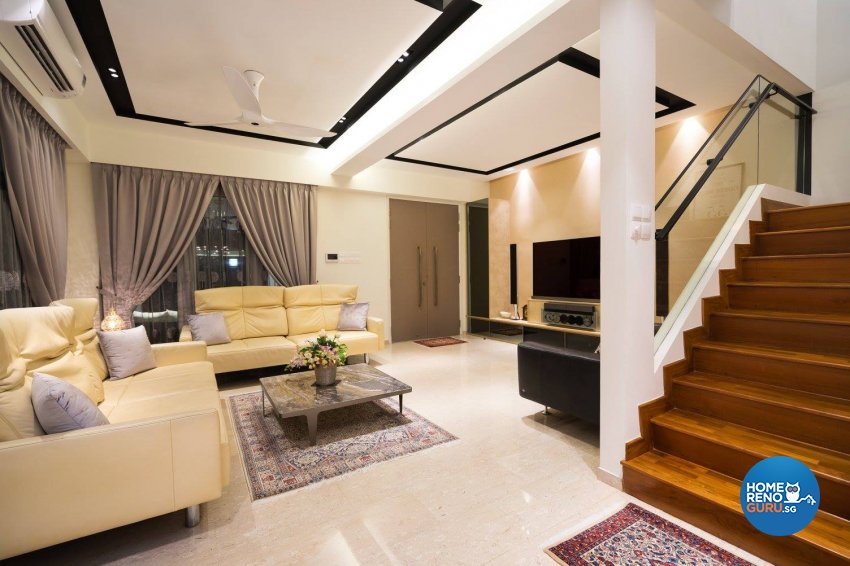 Contemporary Design - Living Room - Landed House - Design by Fineline Design Pte Ltd