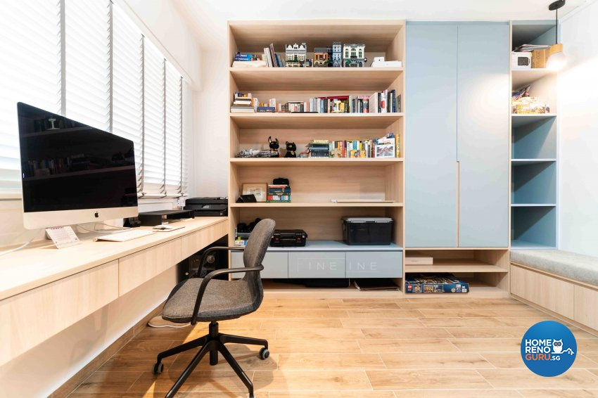 Modern Design - Study Room - HDB Executive Apartment - Design by Fineline Design Pte Ltd