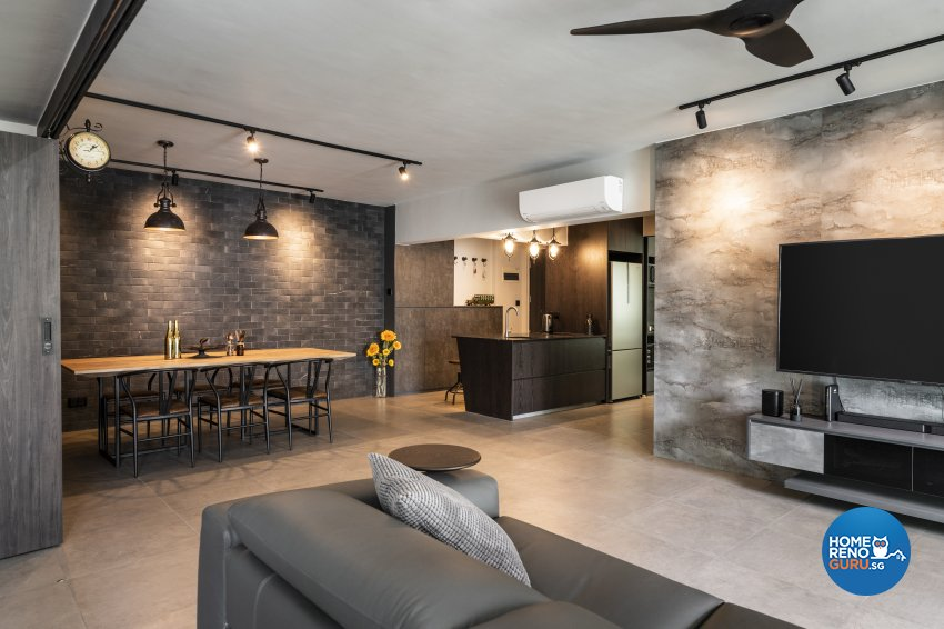 Industrial Design - Living Room - HDB 5 Room - Design by Fineline Design Pte Ltd