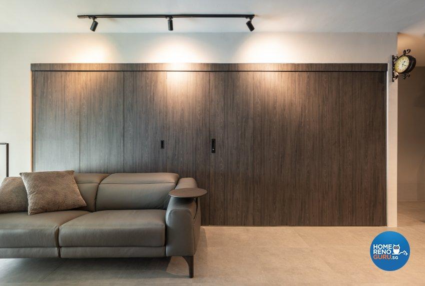 Industrial Design - Living Room - HDB 5 Room - Design by Fineline Design Pte Ltd