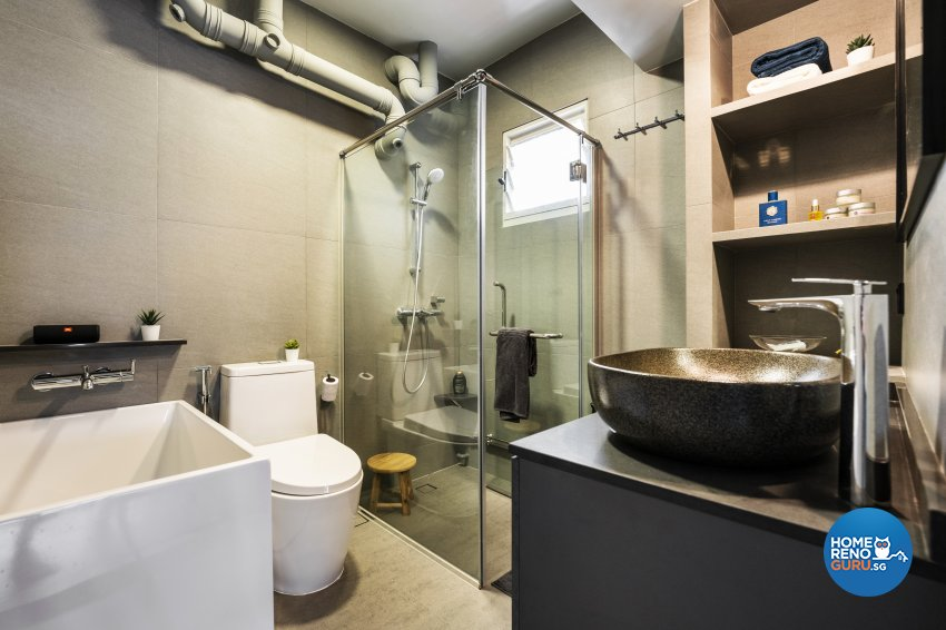 Industrial Design - Bathroom - HDB 5 Room - Design by Fineline Design Pte Ltd