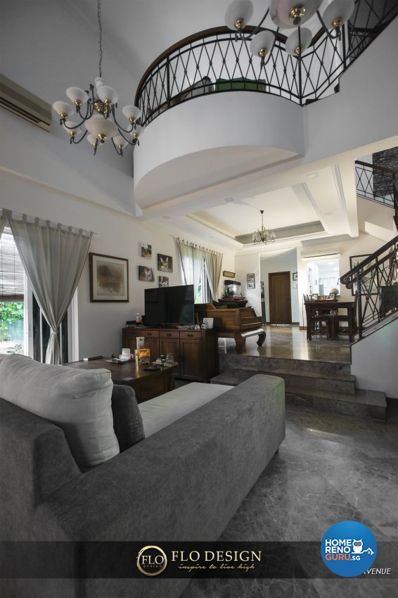 Contemporary, Eclectic, Rustic Design - Living Room - Landed House - Design by Flo Design Pte Ltd