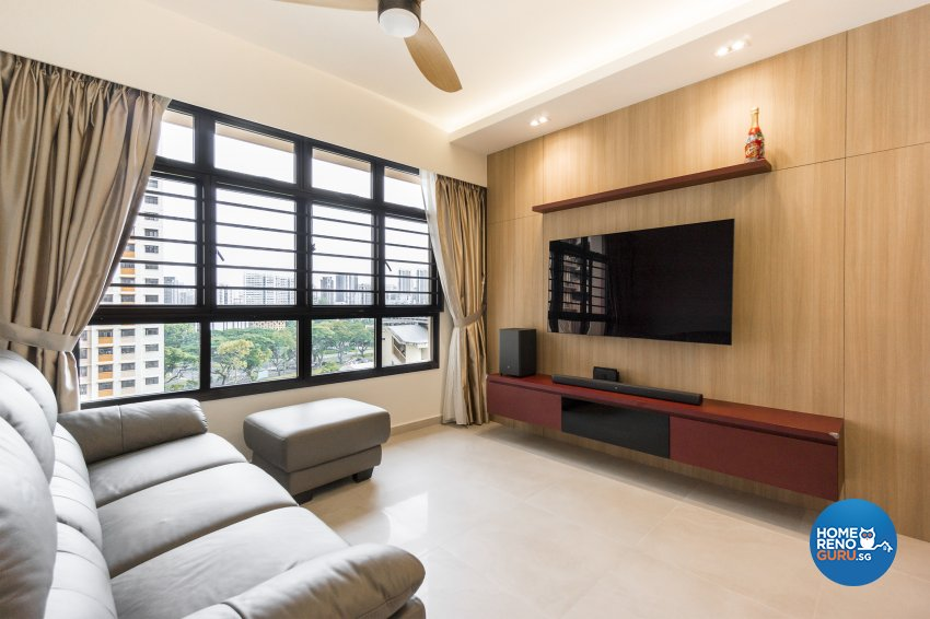 Contemporary, Eclectic Design - Living Room - HDB 4 Room - Design by Flo Design Pte Ltd