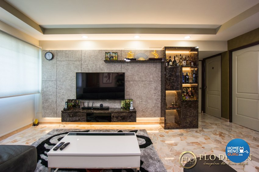 Contemporary Design - Living Room - HDB 4 Room - Design by Flo Design Pte Ltd