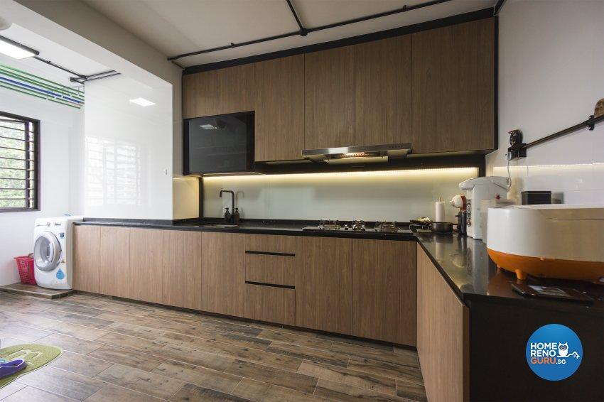 Industrial, Victorian Design - Kitchen - HDB 4 Room - Design by Flo Design Pte Ltd