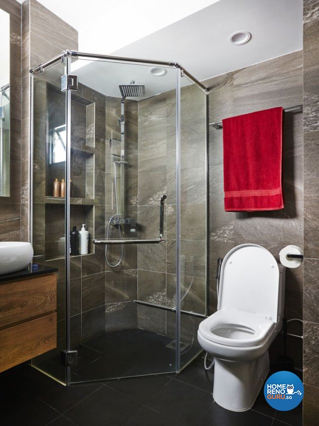 Eclectic, Modern Design - Bathroom - HDB Executive Apartment - Design by Fuse Concept Pte Ltd