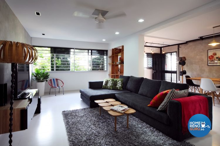 Contemporary, Eclectic Design - Living Room - HDB 5 Room - Design by Fuse Concept Pte Ltd