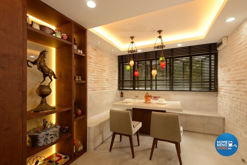 Mediterranean, Rustic, Vintage Design - Dining Room - HDB 4 Room - Design by G'Plan Design Pte Ltd