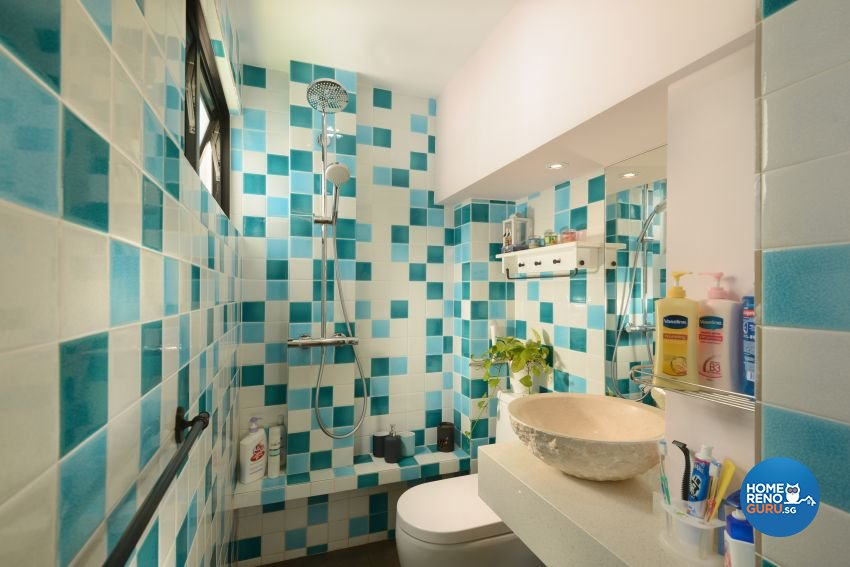 Mediterranean, Rustic, Vintage Design - Bathroom - HDB 4 Room - Design by G'Plan Design Pte Ltd