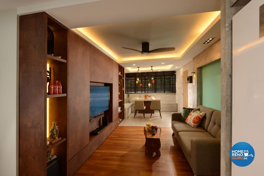 Mediterranean, Rustic, Vintage Design - Living Room - HDB 4 Room - Design by G'Plan Design Pte Ltd