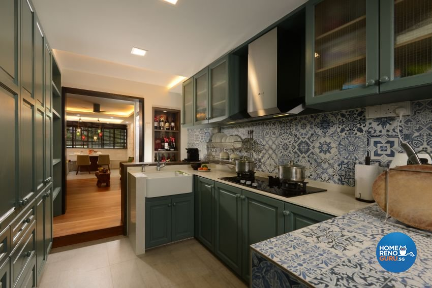 Mediterranean, Rustic, Vintage Design - Kitchen - HDB 4 Room - Design by G'Plan Design Pte Ltd