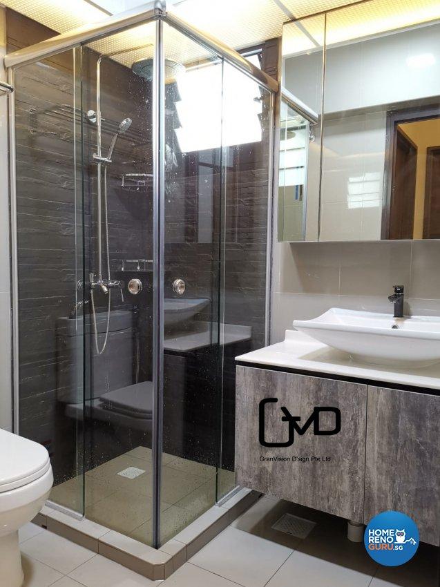 Industrial, Rustic Design - Bathroom - HDB 3 Room - Design by GranVision D'sign Pte Ltd