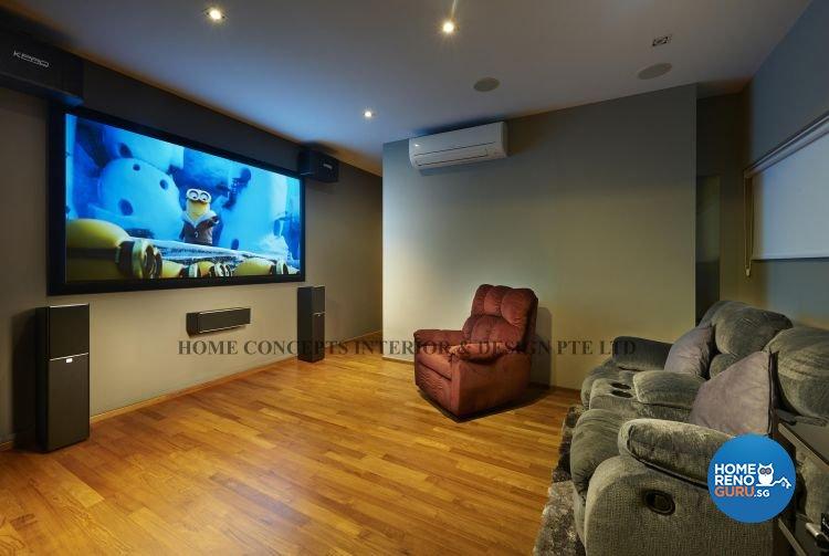 Contemporary, Modern Design - Entertainment Room - Landed House - Design by Home Concepts Interior & Design Pte Ltd