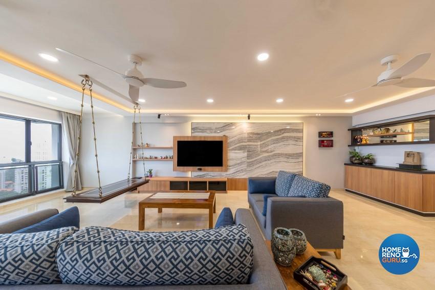 Contemporary, Modern Design - Living Room - HDB 5 Room - Design by Home Concepts Interior & Design Pte Ltd