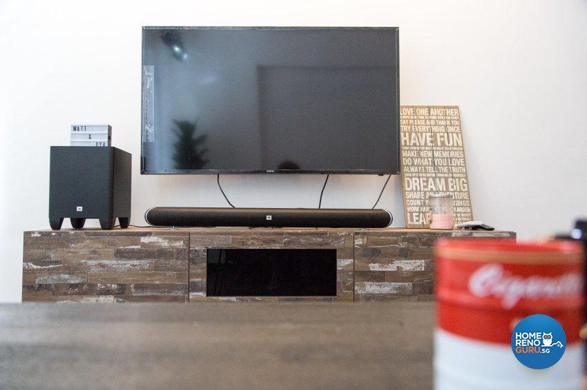 Industrial, Minimalist, Rustic Design - Living Room - HDB 4 Room - Design by How 2 Design Pte Ltd