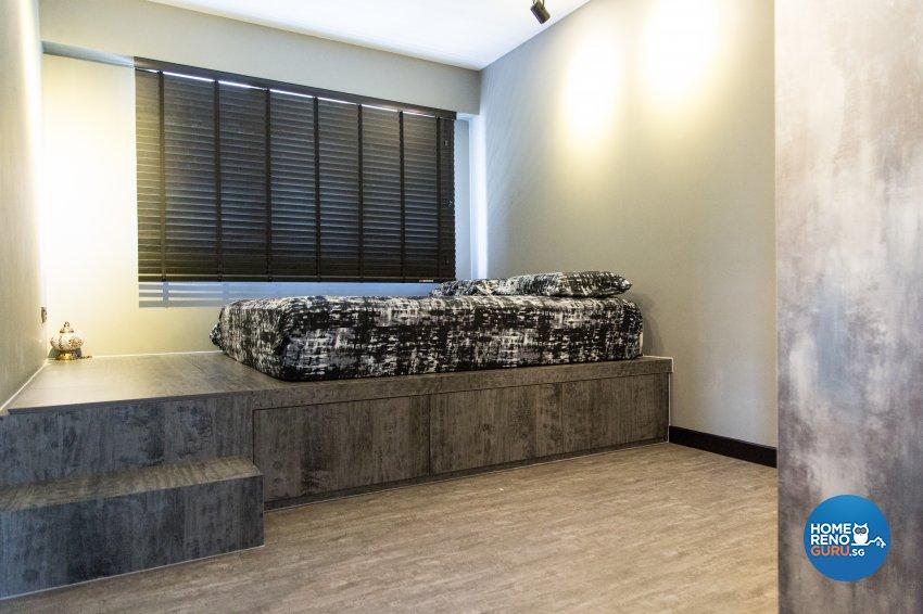 Industrial, Minimalist, Rustic Design - Bedroom - HDB 4 Room - Design by How 2 Design Pte Ltd