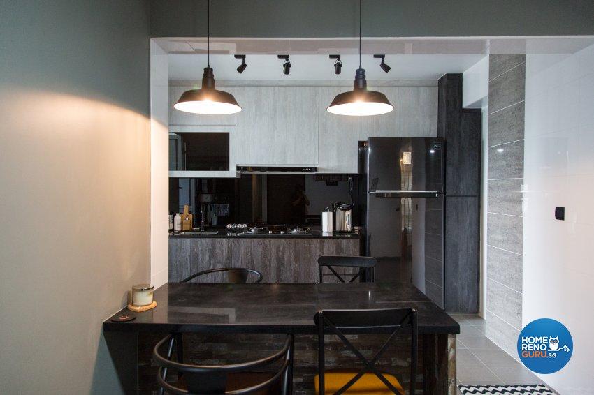 Industrial, Minimalist, Rustic Design - Dining Room - HDB 4 Room - Design by How 2 Design Pte Ltd