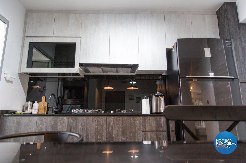 Industrial, Minimalist, Rustic Design - Kitchen - HDB 4 Room - Design by How 2 Design Pte Ltd