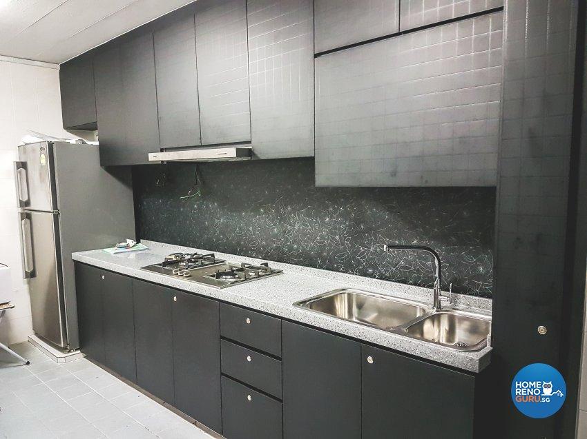 Industrial, Minimalist, Modern Design - Kitchen - HDB 4 Room - Design by How 2 Design Pte Ltd