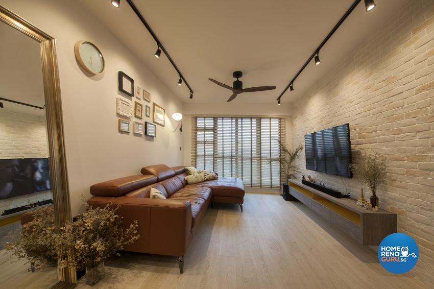 Eclectic, Industrial Design - Living Room - HDB 4 Room - Design by Hue Concept Interior Design Pte Ltd