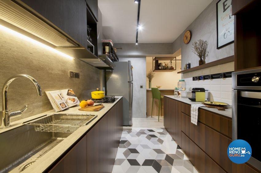 Eclectic, Industrial Design - Kitchen - HDB 4 Room - Design by Hue Concept Interior Design Pte Ltd