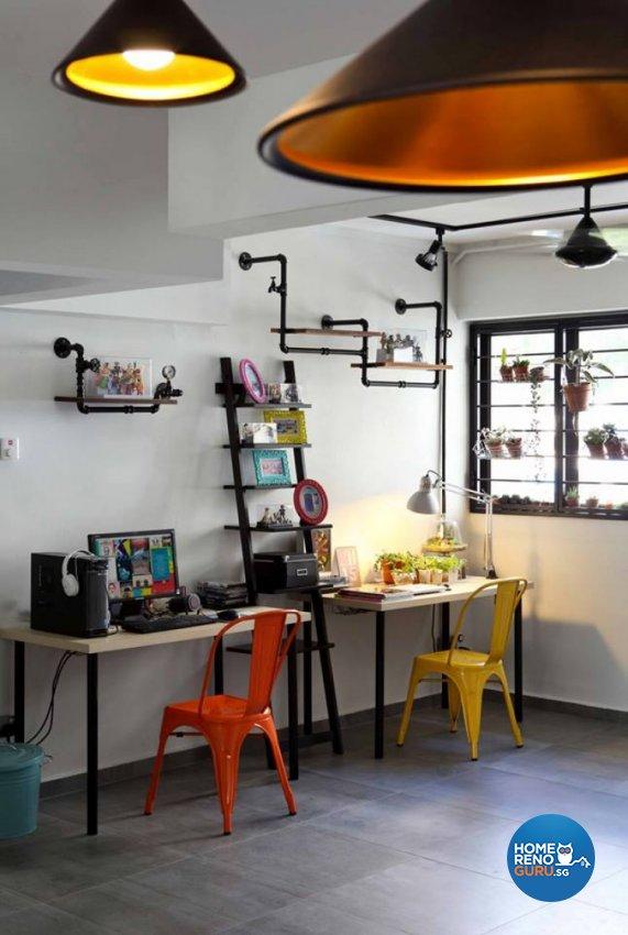 Modern, Retro Design - Study Room - HDB 4 Room - Design by Hue Concept Interior Design Pte Ltd