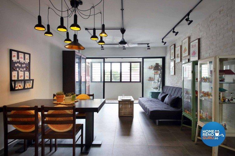 Modern, Retro Design - Living Room - HDB 4 Room - Design by Hue Concept Interior Design Pte Ltd