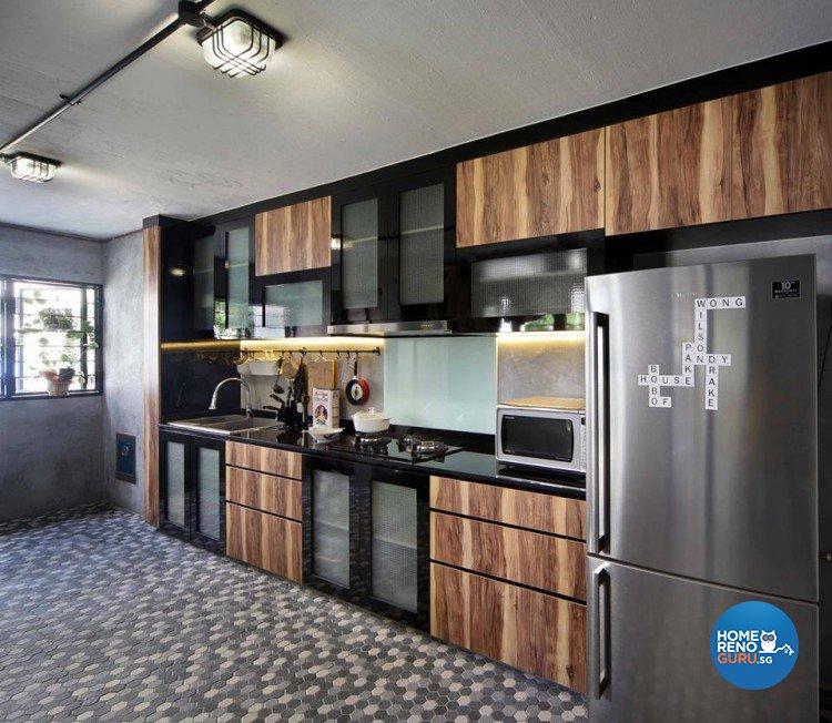 Modern, Retro Design - Kitchen - HDB 4 Room - Design by Hue Concept Interior Design Pte Ltd