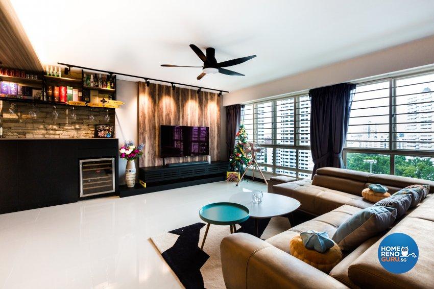 Eclectic, Industrial, Scandinavian Design - Living Room - HDB 5 Room - Design by Hue Concept Interior Design Pte Ltd