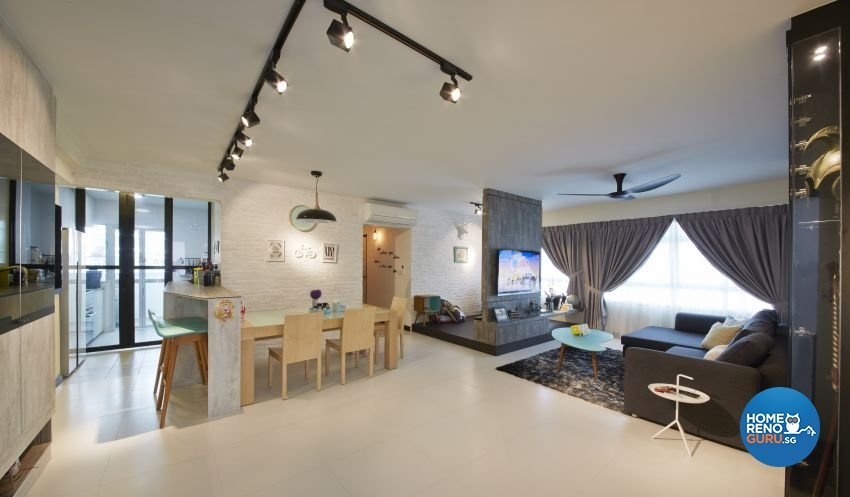 Industrial, Scandinavian Design - Living Room - HDB 5 Room - Design by I-chapter Pte Ltd