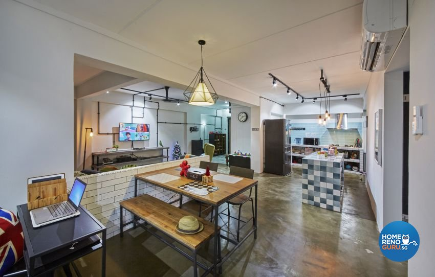 Industrial, Modern Design - Dining Room - HDB 5 Room - Design by I-chapter Pte Ltd
