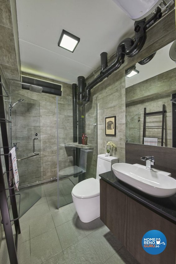 Industrial, Modern Design - Bathroom - HDB 5 Room - Design by I-chapter Pte Ltd
